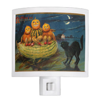 Vintage Halloween Party Black Cat Scary Pumpkins Night Light