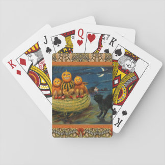 Vintage Halloween Party Black Cat Scary Pumpkins Playing Cards