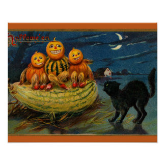 Vintage Halloween Party Black Cat Scary Pumpkins Poster
