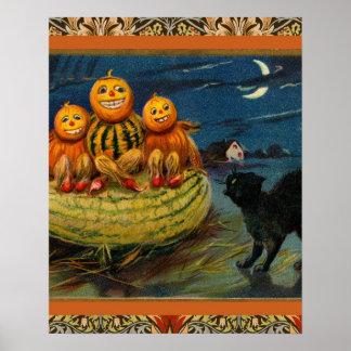 Vintage Halloween Party Black Cat Scary Pumpkins Print