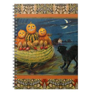 Vintage Halloween Party Black Cat Scary Pumpkins Spiral Notebook
