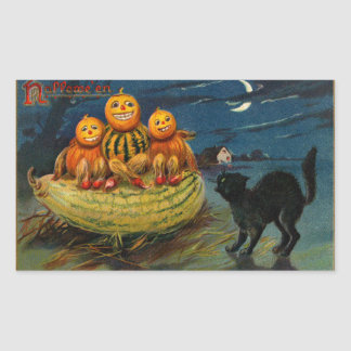 Vintage Halloween Party Black Cat Scary Pumpkins Rectangular Stickers