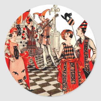 Vintage Halloween Party Classic Round Sticker