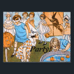 """Vintage Halloween Party for Kids Sign<br><div class=""""desc"""">These children are enjoying their party. Vintage Halloween images from postcards, photos and literature dated before 1923. Many in the beginning part of the 1900s. Some may stem back before that time. All vintage images are enhanced if need be, cleaned-up from stained, torn, worn marks of any kind and set...</div>"""