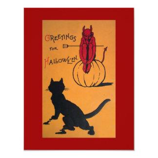 "Vintage Halloween Party 4.25"" X 5.5"" Invitation Card"