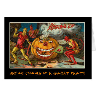 Vintage Halloween Party Invite With Bloody Text Greeting Card