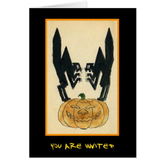 Vintage Halloween Party Invite With Bloody Text Greeting Cards