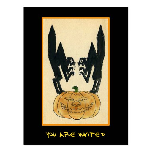 Vintage Halloween Party Invite With Bloody Text Post Card