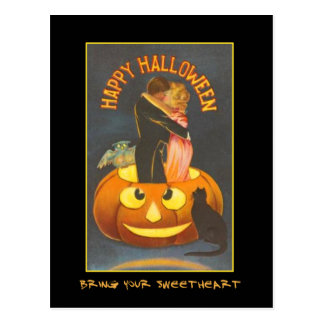 Vintage Halloween Party Invite With Bloody Text Postcards