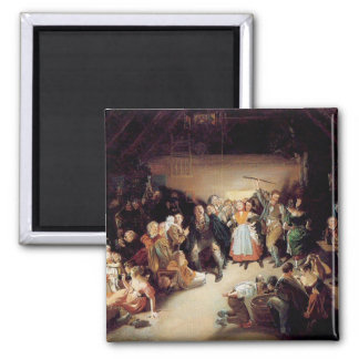 Vintage Halloween Party Painting 2 Inch Square Magnet