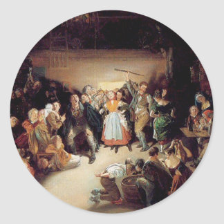 Vintage Halloween Party Painting Classic Round Sticker