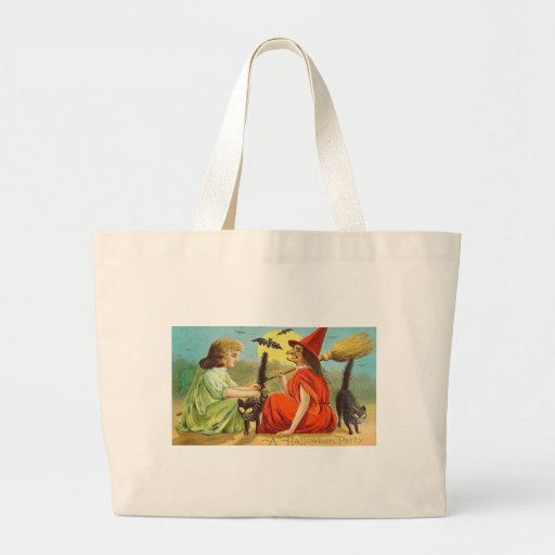 Vintage Halloween Party With Witch and Cats Tote Bags