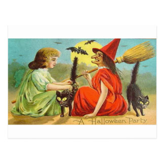 Vintage Halloween Party With Witch and Cats Postcard