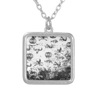 Vintage Halloween pattern Silver Plated Necklace