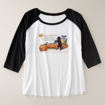 Halloween Themed Vintage Halloween Poem Pumpkins and Black Cat Plus Size Raglan T-Shirt