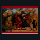 "Vintage Halloween Postcard, Raphael Tuck 1909 Postcard<br><div class=""desc"">Vintage postcard,  Halloween,  inspired by a 1909 Raphael Tuck post card.  Very colorful display of frightful Halloween characters and a black cat!</div>"