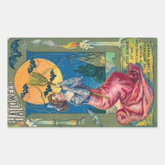 Vintage Halloween Postcard Rectangular Sticker