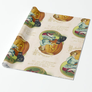 Vintage Halloween Postcard Wrapping Paper