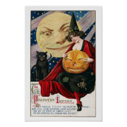 Vintage Halloween Pretty Witch and Jack O'Lantern Poster