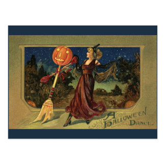 Vintage Halloween, Pretty Witch Dance Post Card