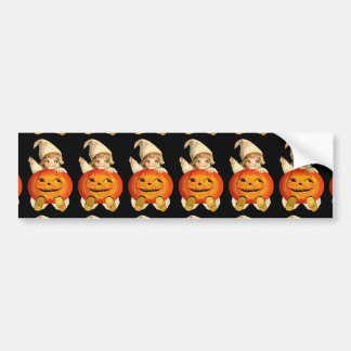 Vintage Halloween Pumpkin and Cute Girl Gift Item Bumper Sticker