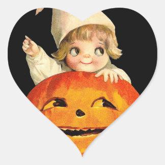 Vintage Halloween Pumpkin and Cute Girl Gift Item Heart Sticker