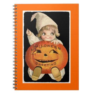 Vintage Halloween Pumpkin Baby - Notebook