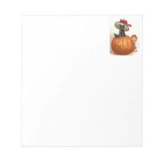 Vintage Halloween Pumpkin Black Cat Witch Hat Baby Notepad