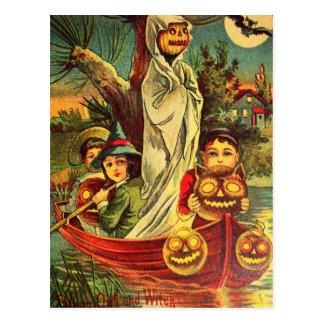 Vintage Halloween Pumpkin Boat Postcard