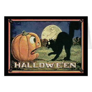 Vintage Halloween Pumpkin  & Cat in Mosaic Card