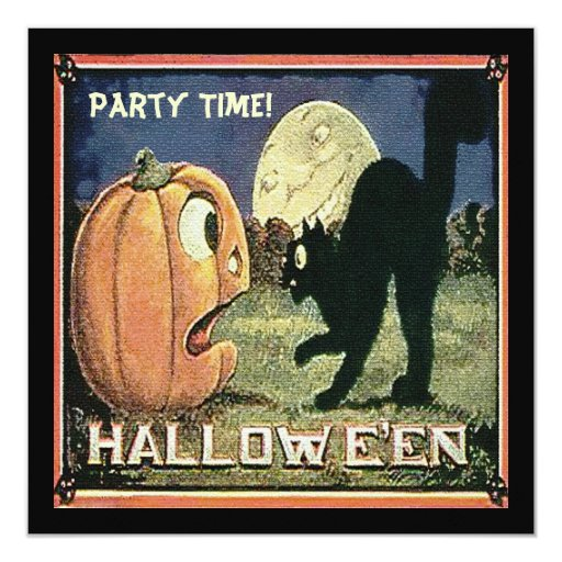 Vintage Halloween Pumpkin  & Cat in Mosaic 5.25x5.25 Square Paper Invitation Card