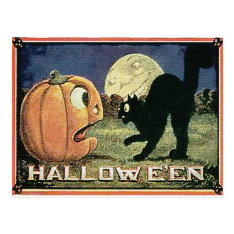 Vintage Halloween Pumpkin  & Cat In Mosaic Postcard at Zazzle