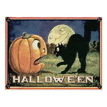 Halloween Themed Vintage Halloween Pumpkin  & Cat in Mosaic Postcard