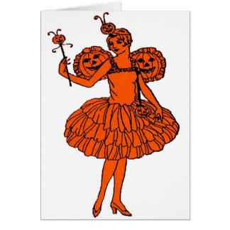 Vintage Halloween Pumpkin Fairy Card