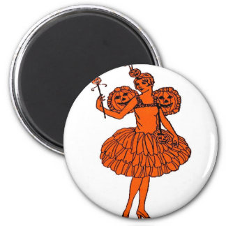 Vintage Halloween Pumpkin Fairy Magnet