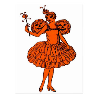 Vintage Halloween Pumpkin Fairy Postcard