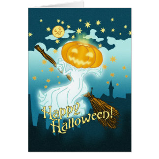 Vintage Halloween Pumpkin Ghost Card