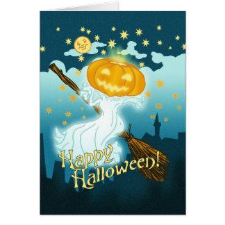 Vintage Halloween Pumpkin Ghost Card