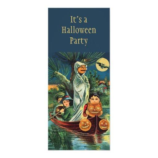 Vintage Halloween Pumpkin Ghost Invitation