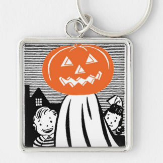Vintage Halloween Pumpkin Ghost Silver-Colored Square Keychain