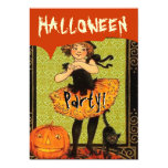 Vintage Halloween Pumpkin Girl and Black Cat V2 Personalized Announcements