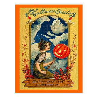 Vintage Halloween, Pumpkin, Girl, Cute Postcard