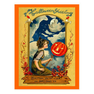 Vintage Halloween, Pumpkin, Girl, Cute Postcard