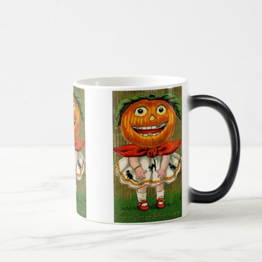 Vintage Halloween Pumpkin Head Girl Mug