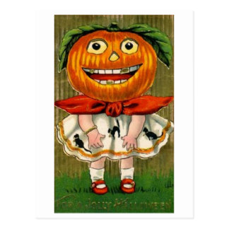 Vintage Halloween Pumpkin Head Girl Postcard