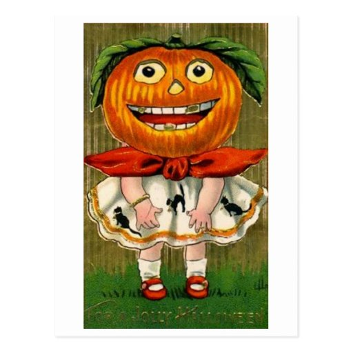 Vintage Halloween Pumpkin Head Girl Postcards