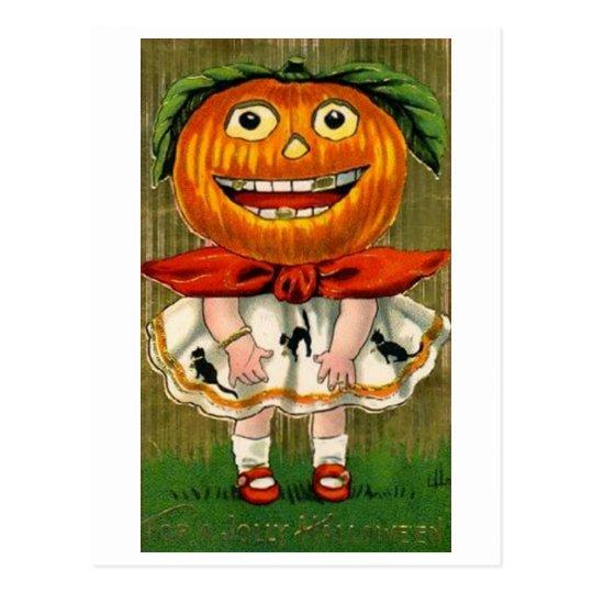Vintage Halloween Pumpkin Head Girl Postcard
