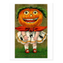 Vintage Halloween Pumpkin Head Girl Postcards