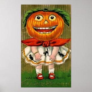Vintage Halloween Pumpkin Head Girl Posters
