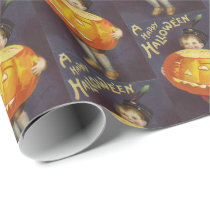 Vintage Halloween pumpkin kid party tiled wrap Wrapping Paper